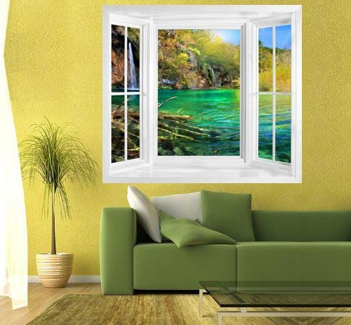 WIM156 - Window frame wall mural view of waterfall in Plitvice Lakes, Croatia - Art Fever - Art Fever