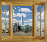 WIM162 - the Shard and the Gherkin from the river Thames - peel and stick window view - Art Fever - Art Fever