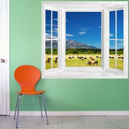 WIM184 - New Zealand Landscape with farmland window frame wall sticker - Art Fever - Art Fever