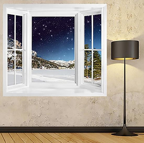 WIM195 - Dolomites Landscape In Winter Night Window Frame Illsusion Mural - Art Fever - Art Fever
