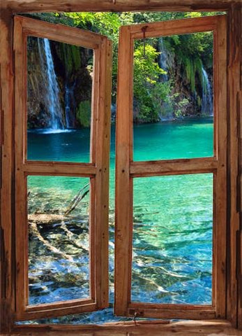wim213 - window frame mural view of the tropical Plitvice Lakes - Art Fever - Art Fever