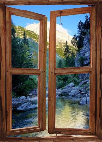 wim215 - window frame mural view Majetic Mountains And river - Art Fever - Art Fever