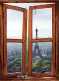 WIM230 - window frame mural Paris view - Art Fever - Art Fever