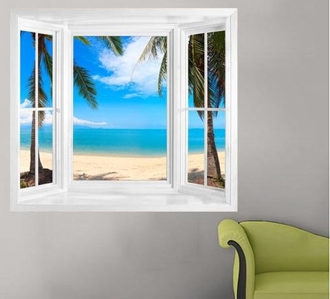 WIM236 - view through the window of tropical palm trees. - Art Fever - Art Fever