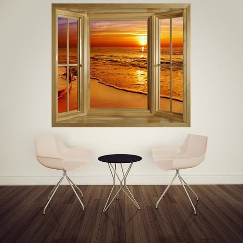 WIM245 - Window frame wall mural view of tropical golden beach sunset - Art Fever - Art Fever