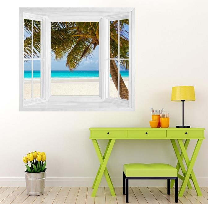 WIM250 - Tropical Caribbean beach window view wall Mural - Art Fever - Art Fever