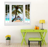 WIM251 - Window Mural view of coconut tree in the Maldives - Art Fever - Art Fever