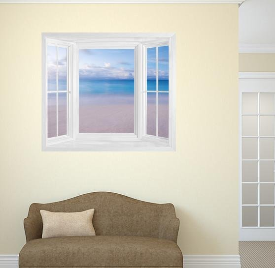 WIM252 - Window Mural view of clear tropical ocean - Art Fever - Art Fever