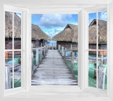 WIM254 - Window Mural view of the Beach Huts in Bora Bora - Art Fever - Art Fever