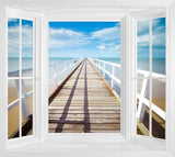 WIM257 - Window Mural view of the Tropical Pier into the Ocean - Art Fever - Art Fever