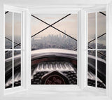 WIM265 - View out to New York Window Frame Mural - Art Fever - Art Fever