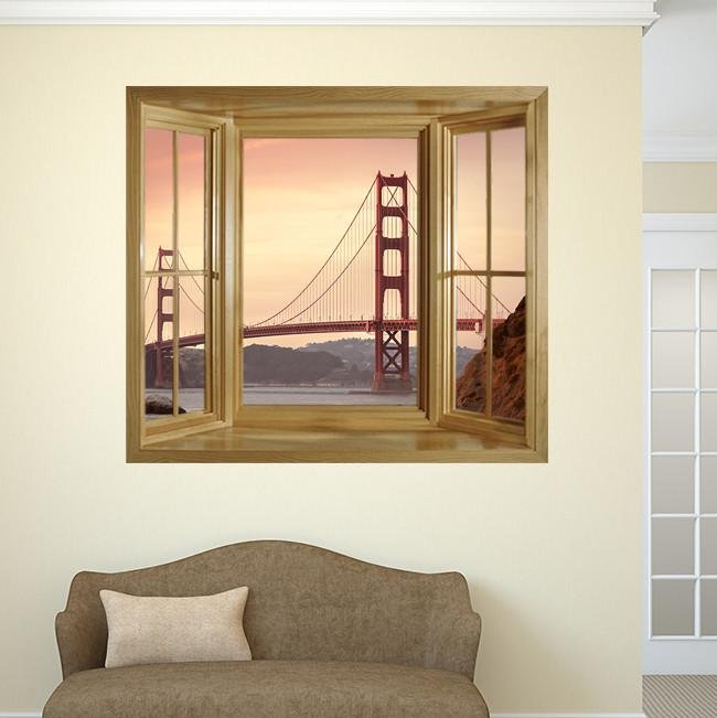 WIM269 - the Golden Gate Bridge Window Frame Mural - Art Fever - Art Fever