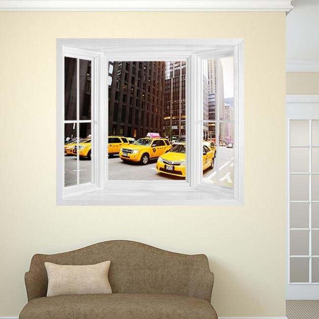WIM272 - Taxi! View of the New York cabs Window Frame Mural - Art Fever - Art Fever