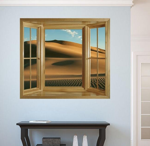 WIM281 - Faux window frame wall mural - desert sand view - Art Fever - Art Fever