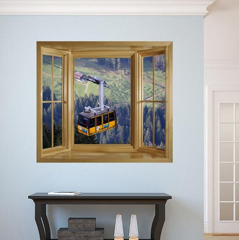 WIM282 - Faux window frame wall mural - Cable car view - Art Fever - Art Fever