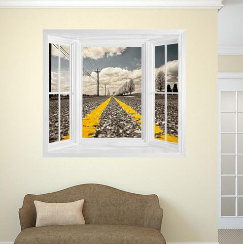 WIM284 - Instant window view wall mural the lonely road - Art Fever - Art Fever