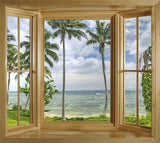 WIM290 - Through the palm trees window view wall mural - Art Fever - Art Fever