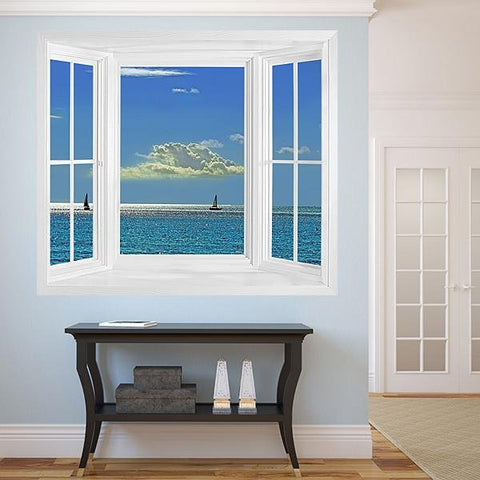 WIM293 - Blue ocean view window view wall mural - Art Fever - Art Fever