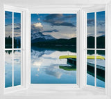 WIM296 - beautiful lake and landscape window frame view wall mural - Art Fever - Art Fever