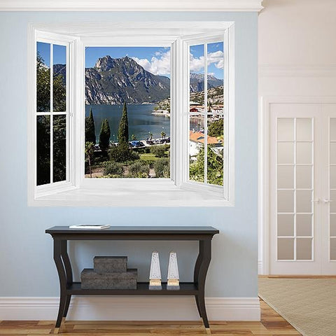 WIM297 - Lake Garda window frame view wall mural - Art Fever - Art Fever