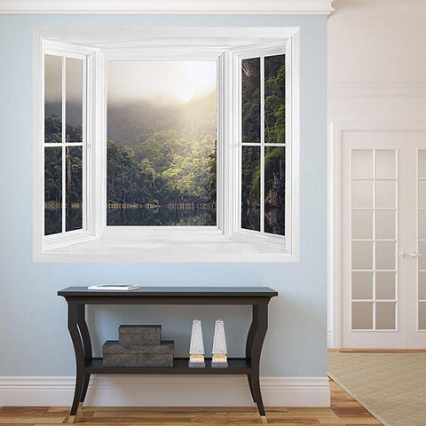 WIM299 - The rain forest landscape window frame view wall mural - Art Fever - Art Fever