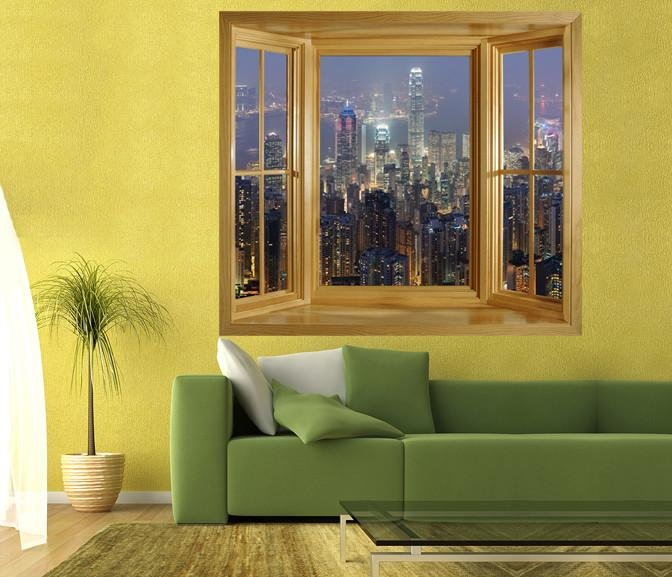 WIM3 - Hong Kong skyline lit up at night - Self Adhesive Mural - Art Fever - Art Fever