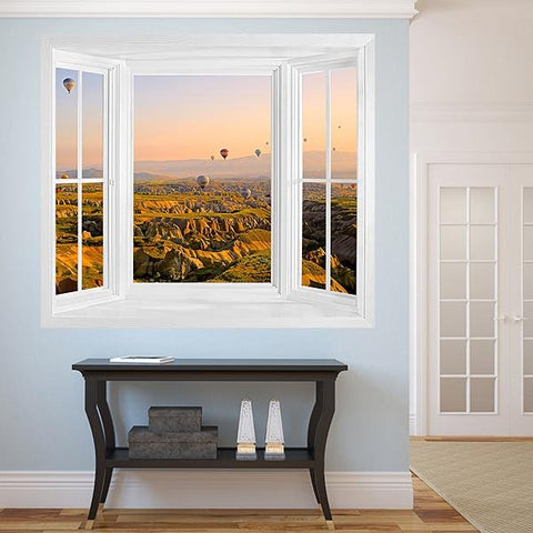 WIM300 - Air balloons over the landscape window frame view wall mural - Art Fever - Art Fever
