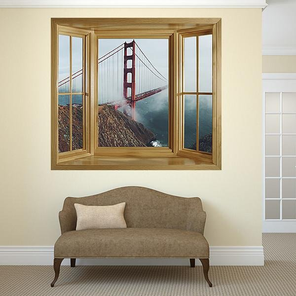 WIM301 - Window Mural view of the golden gate bridge 2 - Art Fever - Art Fever