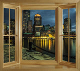 WIM303 - Boston waterfront Window Mural view - Art Fever - Art Fever