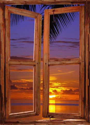 WIM60 - window frame mural view of the sunset beach - Art Fever - Art Fever