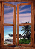 WIM67 - window frame mural view of Seychelles seascape - Art Fever - Art Fever