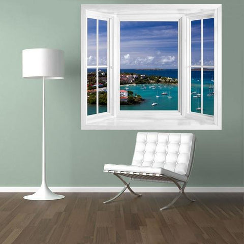 WIM71 - sailing boats in the stunning Cruz Bay - window view wall mural - Art Fever - Art Fever