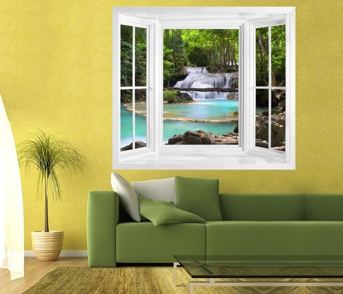 WIM76 - window frame wall sticker view of a Waterfall In The Tropical Forest In Thailand - Art Fever - Art Fever