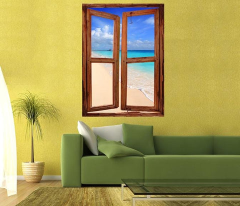WIM83 - window frame mural view Caribbean Tropical Turquoise Beach - Art Fever - Art Fever