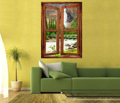 WIM84 - window frame mural view of Takakkaw Falls In Yoho National Park - Art Fever - Art Fever