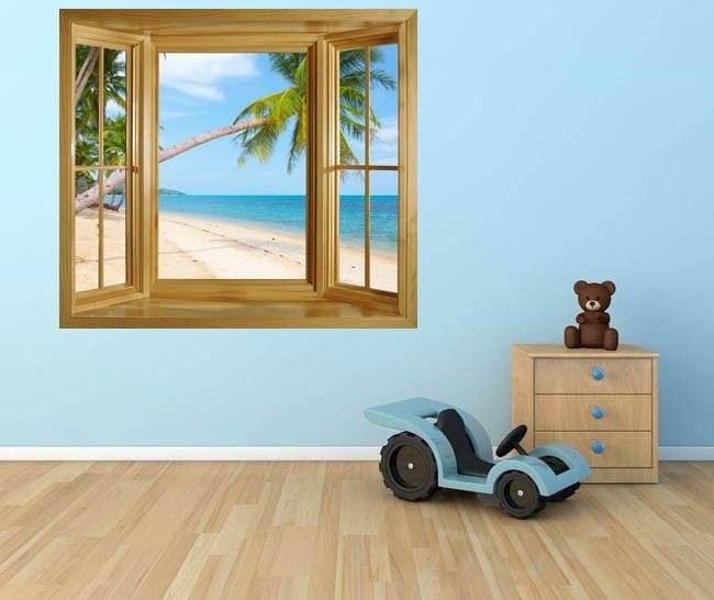 WIM85 - Window frame wall mural view of a tropical beach at dawn. - Art Fever - Art Fever