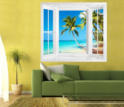 WIM86 - Window frame wall mural view of tropical beach on Kood Island, Thailand - Art Fever - Art Fever