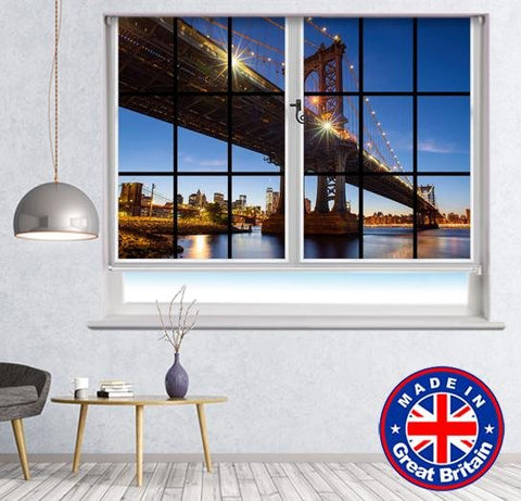 Window View of Brooklyn Bridge NYC Printed Picture Photo Roller Blind - RB584 - Art Fever - Art Fever