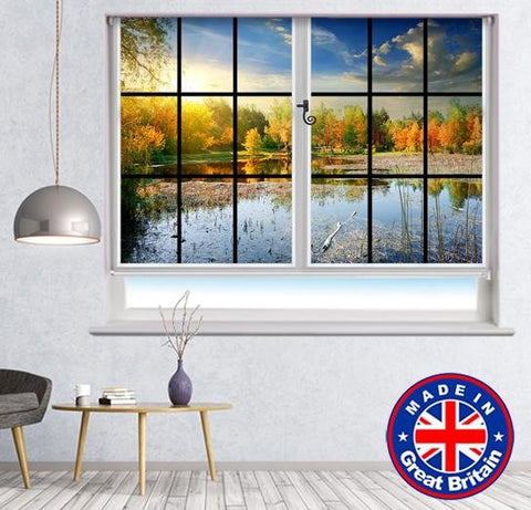 Window View of the Autumn Lake Nature Scene Printed Picture Photo Roller Blind - RB591 - Art Fever - Art Fever