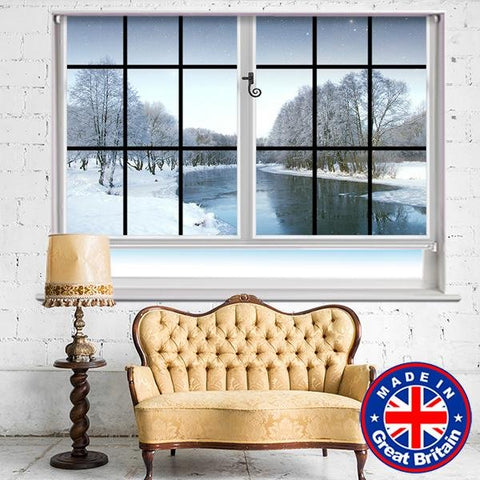 Window View of the frozen Lake Winter scene Printed Picture Photo Roller Blind - RB590 - Art Fever - Art Fever