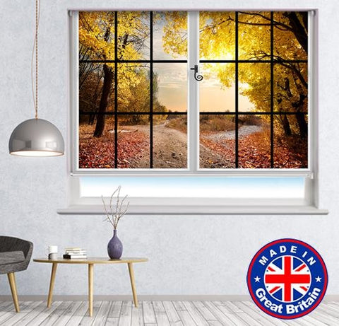 Window View of the pathway through the Autumn Woods Printed Picture Photo Roller Blind - RB589 - Art Fever - Art Fever