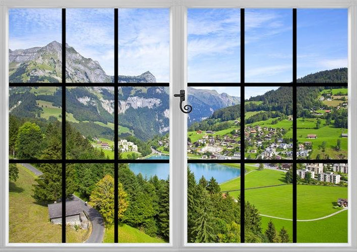Window View of the Swiss Mountains and Alps Printed Photo Picture Roller Window Blind Block Out or Translucent Blind RB588