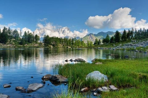 WM117 - LANDSCAPE VIEW IN ITALY, LAKESIDE PHOTO WALL MURAL - Art Fever - Art Fever