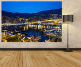 WM120 - STUNNING VIEW OF MONACO HARBOUR AT NIGHT WALL MURAL - Art Fever - Art Fever