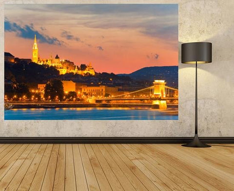 WM121 - VIEW OF BUDAPEST AT NIGHT WALL MURAL - Art Fever - Art Fever