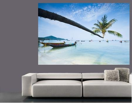 WM126 - PALM TREE AND LONGTAIL BOATS WALL MURAL - Art Fever - Art Fever