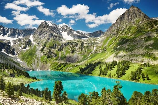 WM135 - BEAUTIFUL TURQUOISE LAKE IN ALTAI MOUNTAINS WALL MURAL - Art Fever - Art Fever