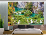WM136 - STUNNING LANDSCAPE WITH WATERFALLS WALL MURAL - Art Fever - Art Fever