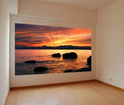 WM208 - RED SUNSET BEACH SCENE WALL MURAL - Art Fever - Art Fever