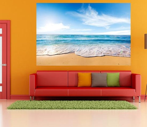 WM210 - BLUE OCEAN TIDE WALL MURAL - Art Fever - Art Fever